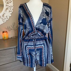 Missguided paisley romper size 4